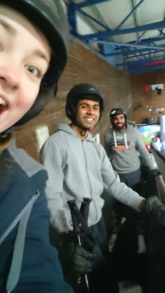 Aron, Chaz and I going up to the top of the Tamworth Snowdome; that's me and Chaz on skis, and Aron on a snowboard!